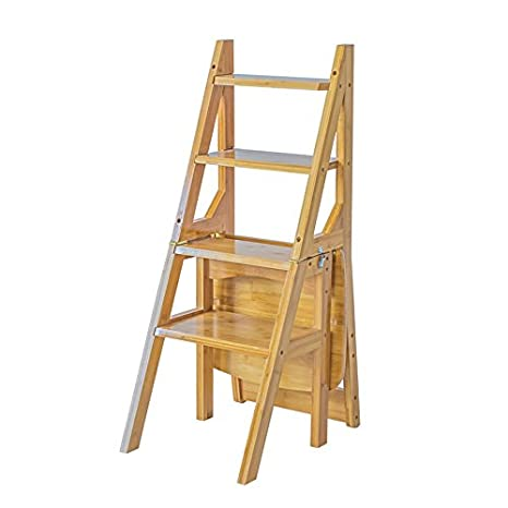 Amazoncom Household Folding Dual Use Ladder Stool Solid Wood