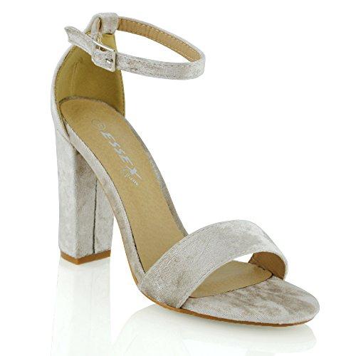 Damen Hochblockabsatz Riemchen Zehenfrei Schuhe Knöchelriemen Sandalen (EU 38, Champagner Samt) ESSEX GLAM