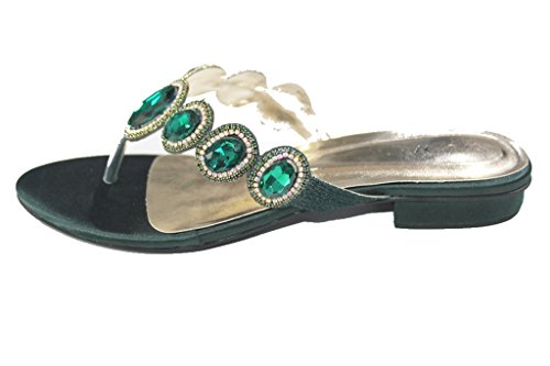 Wear & Walk UK W&W Women Ladies Diamante Wedding Party Evening Fashion Sandals Flats Toe Post (San 1019) D Green mmnsn0OEwx