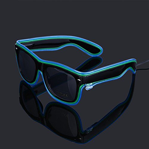 Generic EL Wire Rave Glasses Neon Light Up Glow flashing Sunglasses Double Colors