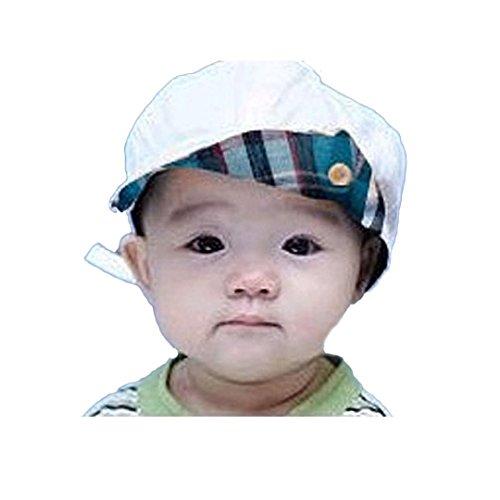 DDLBiz New Style Adjustable Unisex Baby Caps Sunhat Flanging Cap Baby Hats (White)