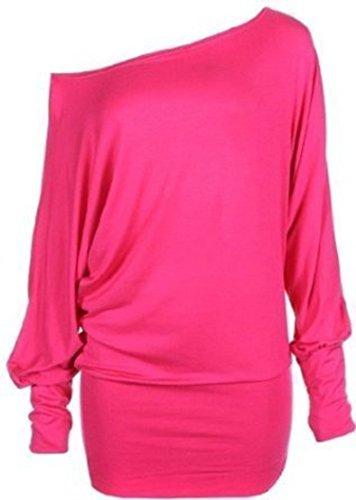 Mischen Sie viele neue Damen trendy aus Schulter baggy Fledermausklar Top Frauen-Mode sexy lange Hülse plus Soft-Touch-lässige Kleidung Top Größe 44-54 (L/XL 44-46, hot pink)