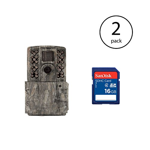 (Moultrie 14MP Invisible Game Camera, Pine Bark (2 Pack) + 16GB SD Card (2 Pack))