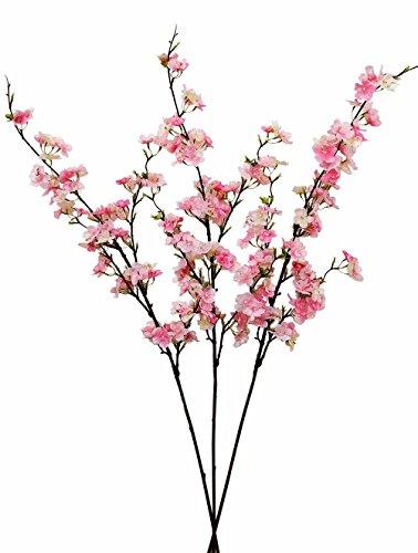 Ahvoler 3 pcs Artificial Cherry Blossom Branches Silk Plum Peach Blossom Flowers Tree, 43 inch, Pink (Pink-3 stems) -