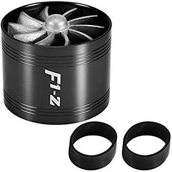 PTNHZ RACING F1-Z Double Car Supercharger Turbine Turbo Charger Air Intake Gas Fuel Saver Fan Black