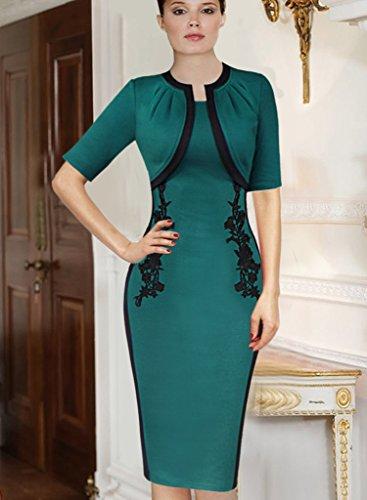 VfEmage Women's Elegant Vintage Colorblock Crochet Party Evening Wiggle Dress 415 GRN 20