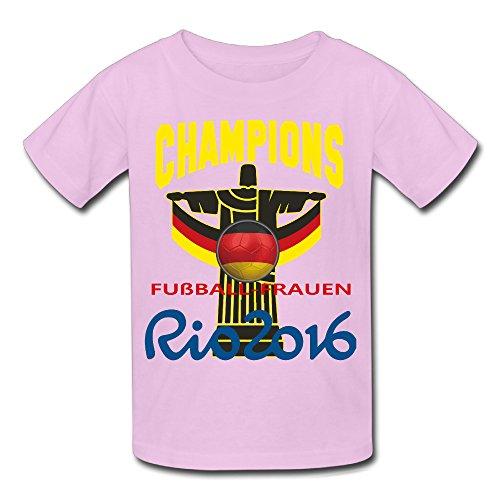Jungen 2016 Rio Fußballfrauen Champion Short-Sleeve T-shirt Rosa S