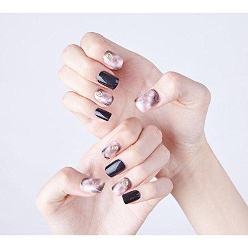 Dongcrystal 24pcs Black and Gold Texture Glossy False Nails Pear Decor Artificial Full Fake Nails Nail Art Tips Top Short ()