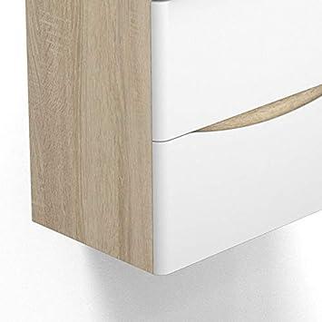 AICA Sanitaire Meuble sous Vasque De Salle De Bain Suspendu Blanc avec Lavabo et 2 tiroirs Espace De Rangement 50cm