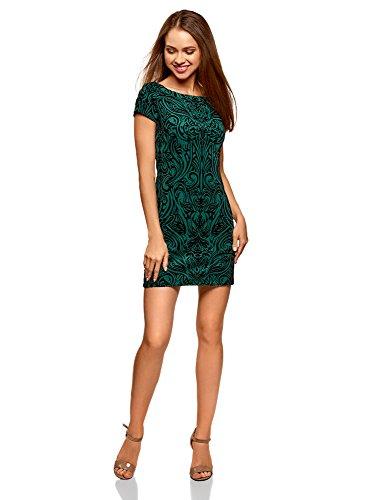 Punto Verde Estampado 6929o de de Mujer Felpa Vestido con oodji Ultra ZqY4xzIx