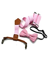 Kids Suspenders Bowtie Set, Y Shape Adjustable Pant Suspenders for Boys Girls