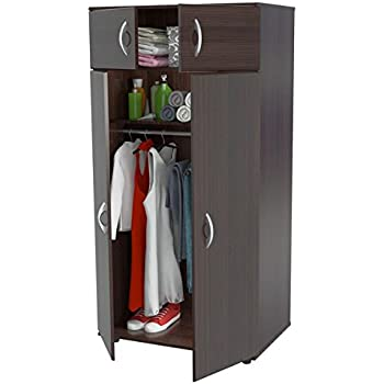 Delicieux Solid Contemporary Modern Espresso Finish 4 Door Armoire Wardrobe Closet 2  Top Shelf 1 Bottom