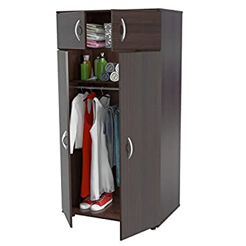 Solid Contemporary Modern Espresso Finish 4 Door Armoire Wardrobe Closet 2  Top Shelf 1 Bottom