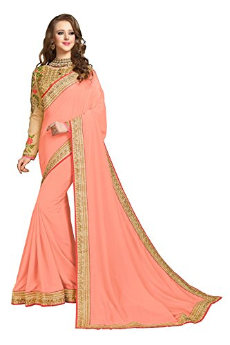(Mohit Creations Designer Pure Silk Lace Border Saree with Unstitched Blouse (Peach))