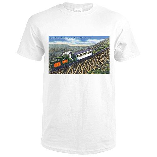 White Mts., New Hampshire - View of the Mt. Washington Cog Train Ascending Jacob's Ladder (Premium White T-Shirt X-Large)