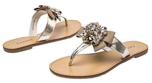 Caihee Kvinna Sommar Mode Ljus Väga Strass Vippor Avslappnad Thong Sandal Golden