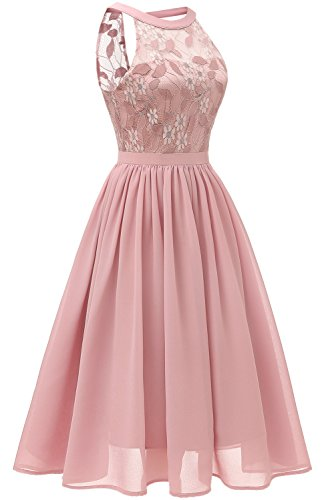 0df2dabcc2 Home Prom Dresses MILANO BRIDE Vintage Cocktail Party Halter Floral Lace  Homecoming Prom Dress for Women-M-Blush.   