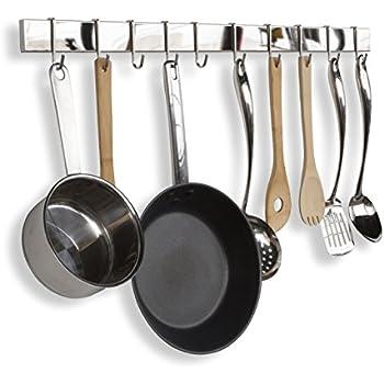 Stainless Steel Gourmet Kitchen Bar Rail Pot Rack For Pans Lids Wall Mount  Hanging Utensil Organizer