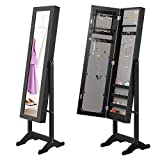 Giantex Mirrored Jewelry Cabinet Armoire Mirror Organizer Storage Box Ring w/Stand (Black)