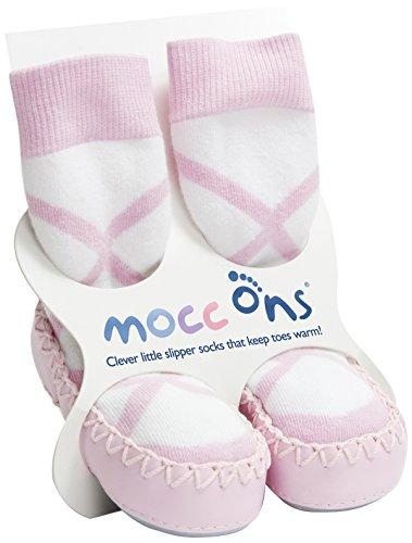 Baby Ballerina Socks - Mocc Ons Cute Moccasin Style Slipper Socks - 6-12 Months, Ballerina