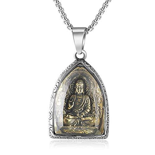 Sinymilk Thai Elephant Buddha Kuan Yin Amulet Pendant Titanium Stainless Steel Gold Buddhist Necklace