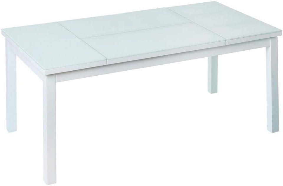 Mesa de Centro elevable para Exterior de Cristal y Aluminio Blanca, de 120x60x48 cm - LOLAhome