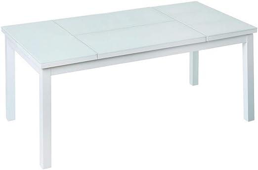 Mesa de Centro elevable para Exterior de Cristal y Aluminio Blanca, de 120x60x48 cm - LOLAhome: Amazon.es: Jardín