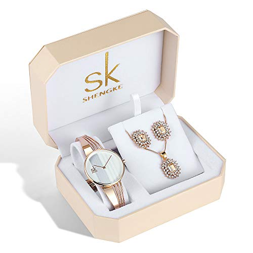 64bbe6879dcbe5 SK Women Earring Watches Luxury Rose Gold and Gold Jewelry Set Female  Christmas Present (K0062