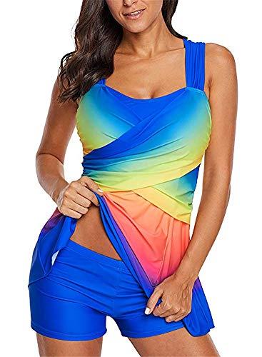 BeneGreat Womens Plus Size Swimsuit Colorful Tankini Set 2 pcs Swimdress Bathing Suit with Boyshorts