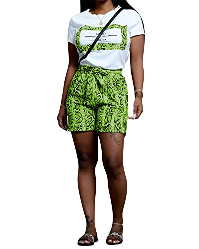 - Women Snakeskin Short Sets Outfits - Casual Animal Print Short Sleeve T-Shirts and Bodycon Shorts Sweatsuits Set with Belt Green Small