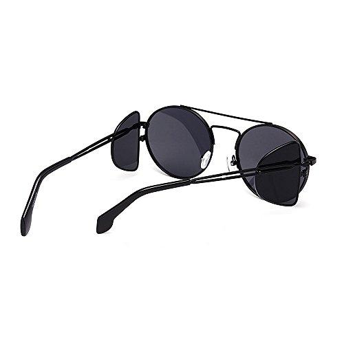 A borde sol marco clásicos redondo de gafas mujeres de estilo para sol metal sol prueba personalidad viento con gafas hombres Retro punk protección gafas Unisex de Negro de Elegante de Estilo gafa UV unisex a1gwqta