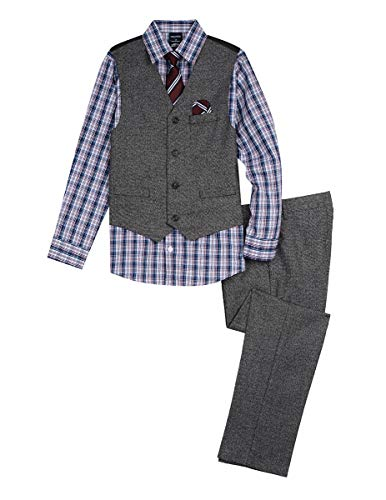 Nautica Boys' Big 4-Piece Formal Dresswear Vest Set, Original Black, 10