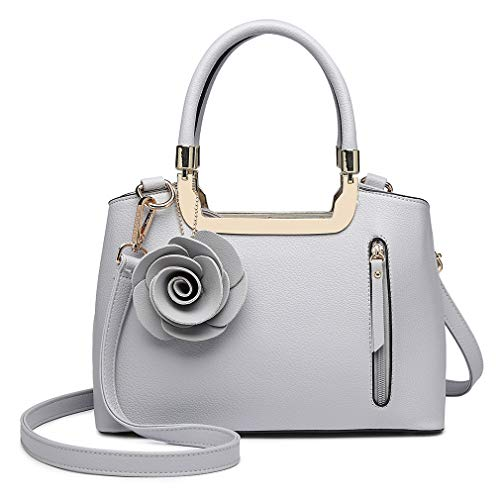 Grey Charm Trend Pu Top Women Small Leather Structured Elegant Miss Shoulder Bag Bag Lulu Handle Handbag Flower Crossbody Bag 0UvqnO