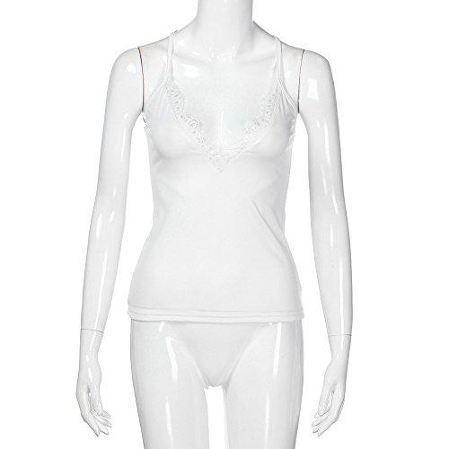 Dainzuy Deep V Neck Tank Tops Sleeveless Lace Mini Vest Sexy Camisole Spaghetti Strap Tank Blouse foe Women Teen Girls White by Dainzuy Women Tops (Image #2)