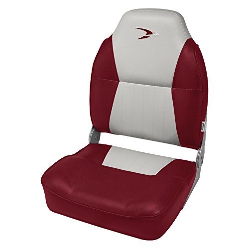 Back Lounge Seat (Wise Contoured Folding High Back Boat Seat, Grey/Red)