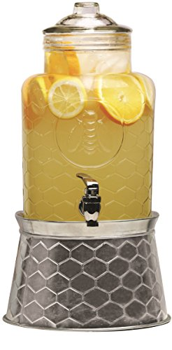 Circleware Honey Bee Glass Beverage Drink Dispenser with Glass Lid and Metal Stand which Transforms to an Ice Cube Beer Bucket, 1.4 Gallon Capacity ()