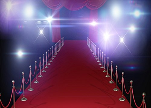 Leowefowa 7X5FT Shining Stage Lights Red Carpet Backdrop Red Curtain Backdrops Photography Hollywood Vinyl Photo Background Theater Show Decoration Wallpaper Bridal Studio Props from Leowefowa