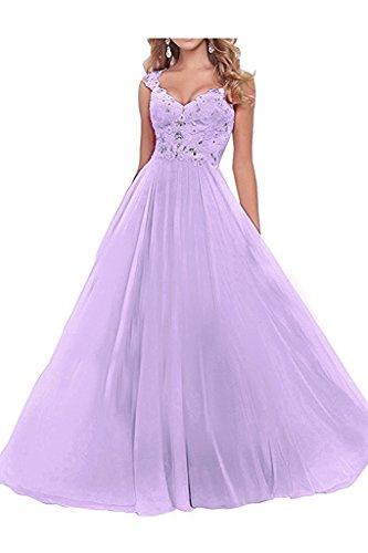 Lang Festlichkleider Rock Promkleider Weiss Braut Abendkleider Lilac A Ballkleider Damen Jugendweihe Kleider mia La Linie Spitze 7Txz8fSfn
