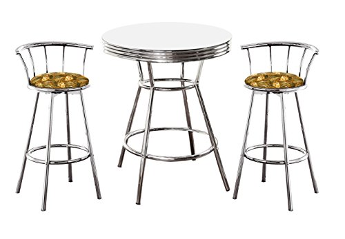 The Furniture Cove Chrome Bar Table & 2 Chrome 24