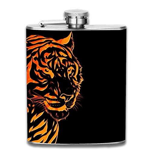 Hip Flask for Liquor Matte Black 7 Oz for Men & Women for Perfecting Your Drinking Experience-Flaming Tiger