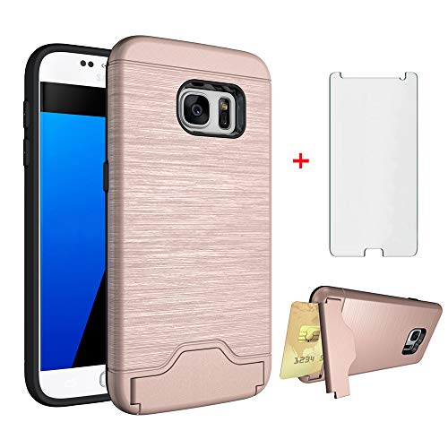 Phone Case for Samsung Galaxy S7 with Tempered Glass Screen Protector Cover Credit Card Holder Slim Hard Wallet Stand Kickstand Hybrid Cell Accessories Glaxay S 7 7s GS7 SM-G930V G930A Women Rose Gold