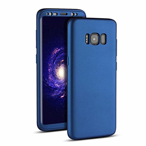 Price comparison product image GBSELL 360° Full Cover Plated TPU Rubber+PC Shockproof Case for Samsung Galaxy S8 Plus (Blue)