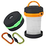 STYDDI 2pcs Led Camping Lantern Collapsible Led Lantern Flashlight (Green&Orange) With 2pcs D-ring Key Chain Clip,3 Modes,Battery Operated,Portable,Water-Resistant,Dual Purpose LG01