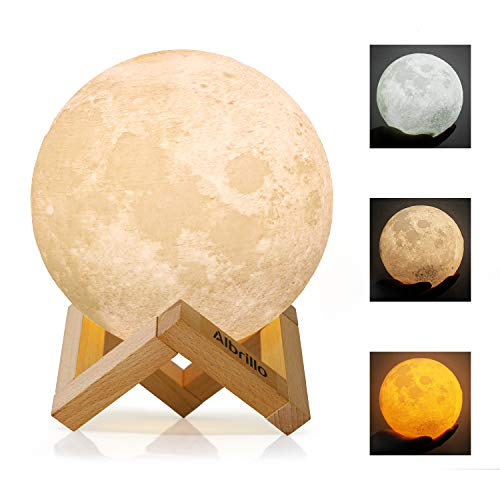 Albrillo Lampara de Luna 3D - Luz Nocturna LED Lampara de Lunar 15cm Regulable con 3 Colores, Control Tactil e USB Recargable, como Regalo o Decoracion