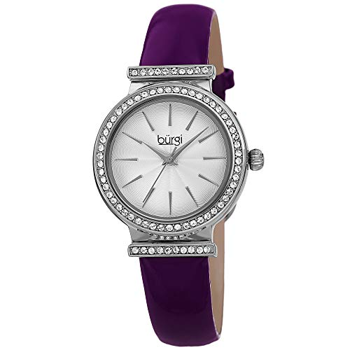 (Burgi Swarovski Crystal Studded Bezel Watch - Sparkling Design Fine Guilloche Pattern Dial - Genuine Purple Patent Leather Black Strap - BUR230PU)