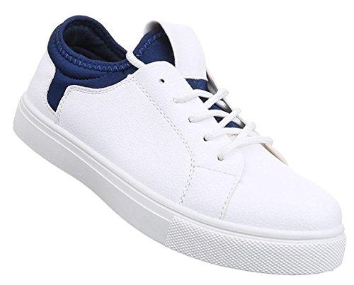 Damen Sneaker Schuhe Freizeitschuhe Low-top Halbschuhe Schwarz weiss blau grün 36 37 38 39 40 41 Weiß Blau