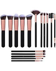 Makeup Brush Set, 16pcs Premium Cosmetic Brushes Kit for Blending Face Powder Foundation Blending Blush Blush Concealer Eye Shadow, premium synthetic fiber (Rose Gold)