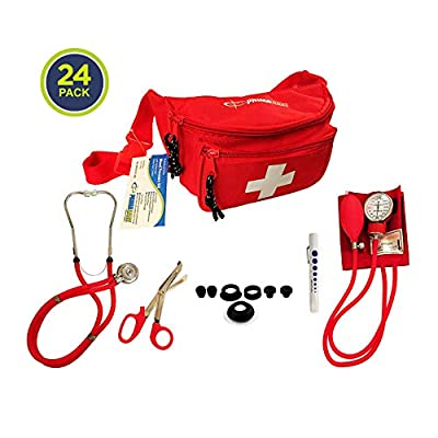 Primacare CSKB-9181-RD Blood Pressure Kit with Sprague Rappaport Stethoscope, Professional Series Fanny Pack Combo, Red (Pack of 24)