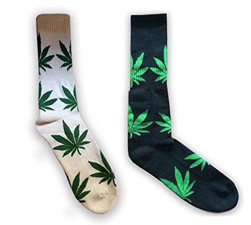 Marijuana-Weed-Leaf-Calf-Length-Socks-Made-with-Hemp-Organic-Cotton