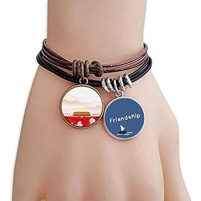 YMNW Red Flag Tiananmen Mountain Fog Friendship Bracelet Leather Rope Wristband Couple Set Estimated Price -